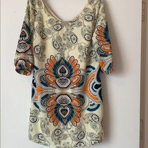 Cream Patterned Mini Dress
